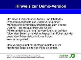 Hinweis  zur Demo-Version