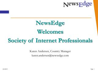 NewsEdge  Welcomes Society of Internet Professionals Karen Andersen, Country Manager