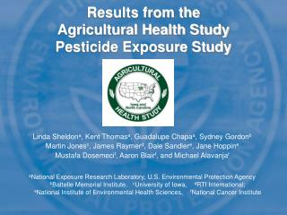Results from the Agricultural Health Study Pesticide Exposure Study