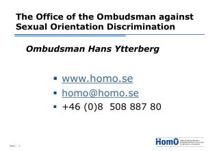 The Office of the Ombudsman against Sexual Orientation Discrimination
