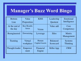 Manager's Buzz Word Bingo