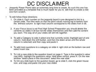 DC DISCLAIMER