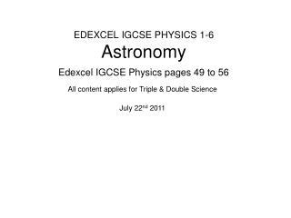 EDEXCEL IGCSE PHYSICS 1-6 Astronomy