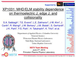 XP1031: MHD/ELM stability dependence on thermoelectric J, edge J, and collisionality