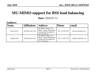 MU-MIMO support for BSS load balancing