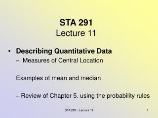 STA 291 Lecture 11