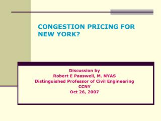 CONGESTION PRICING FOR NEW YORK?