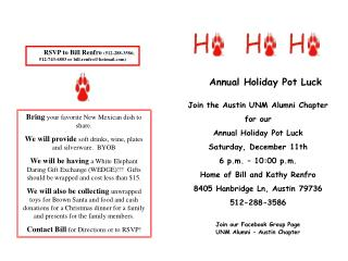 Join the Austin UNM Alumni Chapter for our  Annual Holiday Pot Luck Saturday, December 11th