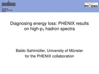Diagnosing energy loss: PHENIX results on high-p T  hadron spectra