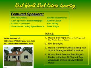 Real-World Real Estate Investing