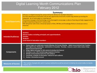 Digital Learning Month Communications Plan February 2012
