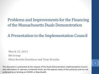 March 15, 2013 BD Group  Ellen Breslin Davidson and Tony Dreyfus