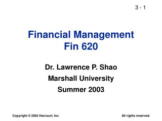 Financial Management Fin 620