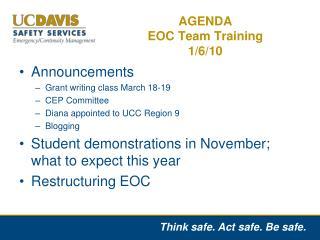 AGENDA EOC Team Training 1/6/10