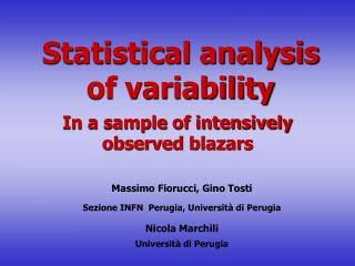 Statistical analysis of variability