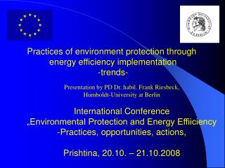 Practices of environment protection through  energy efficiency implementation -trends-