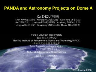 PANDA and Astronomy Projects on Dome A
