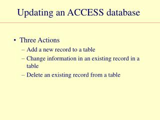 Updating an ACCESS database