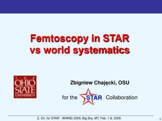 Femtoscopy in STAR  vs world systematics