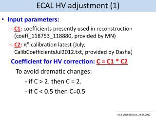 ECAL HV adjustment (1)