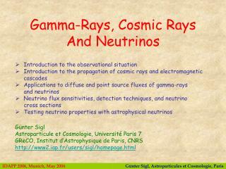 G ü nter Sigl Astroparticule et Cosmologie, Université Paris 7