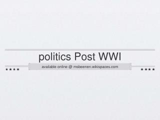 politics Post WWI
