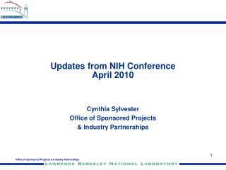 Updates from NIH Conference April 2010