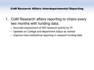 CoM Research Affairs Interdepartmental Reporting