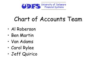 Chart of Accounts Team