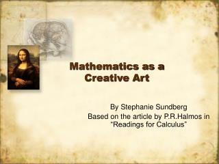 Mathematics as a Creative Art
