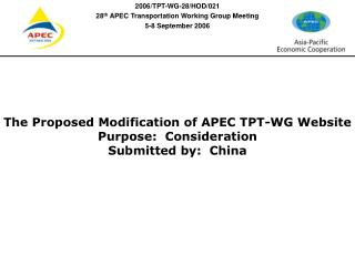 The Proposed Modification of APEC TPT-WG Website