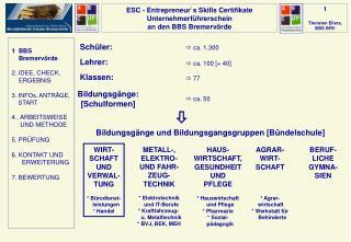 ESC -  Entrepreneur`s  Skills  Certifikate Unternehmerführerschein an den BBS Bremervörde