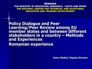 ROMA NIA THE  MINISTR Y OF EDUCATION, RESEARCH,  YOUTH AND SPORT