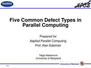 Five Common Defect Types in Parallel Computing