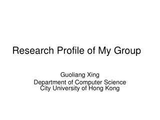 Research Profile of My Group