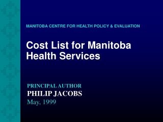 Cost List for Manitoba Health Services