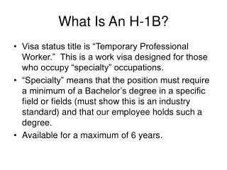 What Is An H-1B?