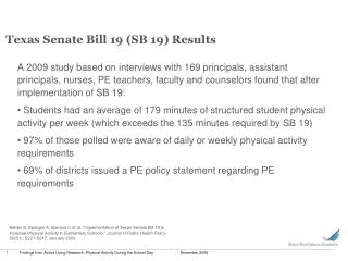 Texas Senate Bill 19 (SB 19) Results
