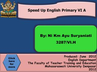 Produced: June  2012 English Department  The Faculty of Teacher Training and Education