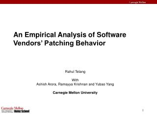 An Empirical Analysis of Software Vendors' Patching Behavior