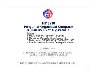 IKI10230 Pengantar Organisasi Komputer Kuliah no. 05.x: Tugas No. 1