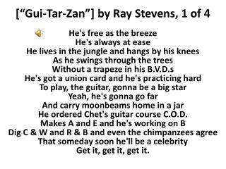 "["" Gui -Tar- Zan ""] by Ray Stevens, 1 of 4"