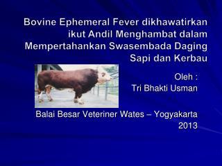 Oleh  :  Tri  Bhakti Usman Balai Besar Veteriner Wates  – Yogyakarta 2013