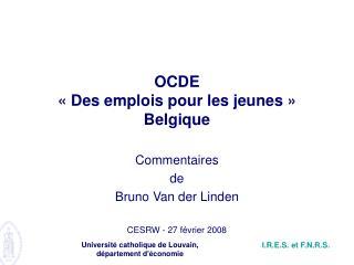 OCDE «Des emplois pour les jeunes» Belgique