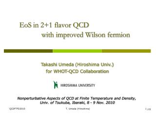 EoS  in 2+1 flavor QCD             with  improved Wilson fermion
