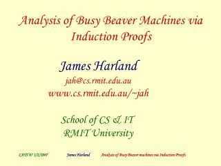 Analysis of Busy Beaver Machines via Induction Proofs