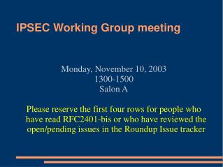 IPSEC Working Group meeting