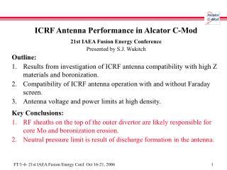 ICRF Antenna Performance in Alcator C-Mod 21st IAEA Fusion Energy Conference