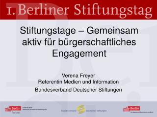 Stiftungstage – Gemeinsam aktiv für bürgerschaftliches Engagement