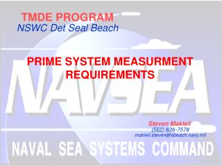 TMDE PROGRAM NSWC Det Seal Beach